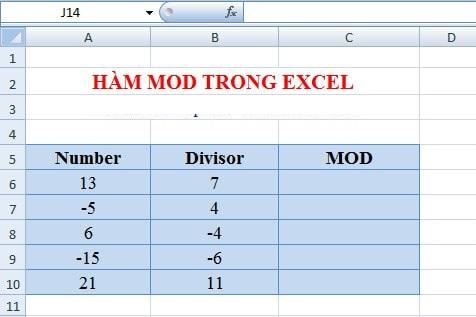 Hàm mod trong excel giúp trả về kết quả là số dư của phép tính