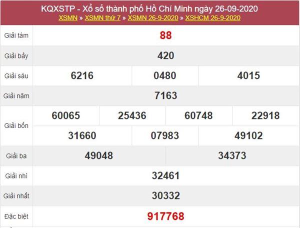 Soi cầu KQXS Hồ Chí Minh 28/9/2020 thứ 2 siêu chuẩn