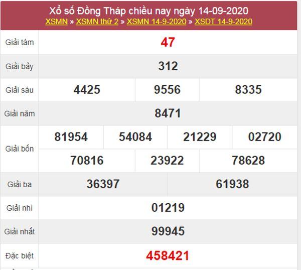 Soi cầu XSDT 21/9/2020 chốt KQXS Đồng Tháp thứ 2