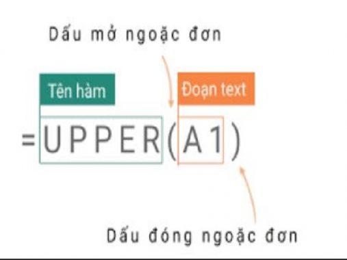 Cách sử dụng hàm Upper trong excel