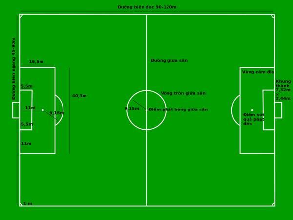 Kích thước sân bóng 11 người đúng tiêu chuẩn quốc tế